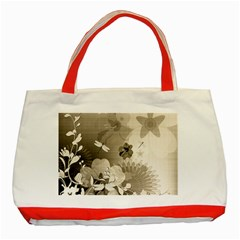 Vintage, Wonderful Flowers With Dragonflies Classic Tote Bag (Red)