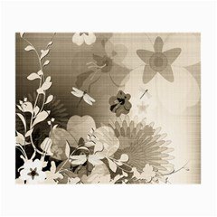 Vintage, Wonderful Flowers With Dragonflies Small Glasses Cloth (2-Side)