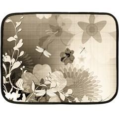 Vintage, Wonderful Flowers With Dragonflies Fleece Blanket (mini)