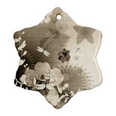 Vintage, Wonderful Flowers With Dragonflies Ornament (Snowflake)