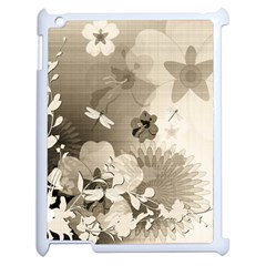 Vintage, Wonderful Flowers With Dragonflies Apple iPad 2 Case (White)