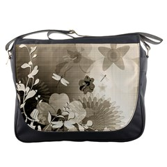 Vintage, Wonderful Flowers With Dragonflies Messenger Bags