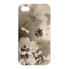 Vintage, Wonderful Flowers With Dragonflies Apple iPhone 4/4S Premium Hardshell Case