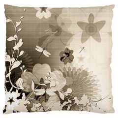 Vintage, Wonderful Flowers With Dragonflies Large Cushion Cases (two Sides)