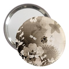 Vintage, Wonderful Flowers With Dragonflies 3  Handbag Mirrors