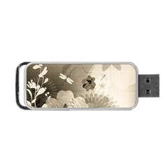 Vintage, Wonderful Flowers With Dragonflies Portable USB Flash (Two Sides)