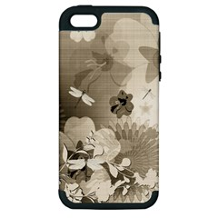 Vintage, Wonderful Flowers With Dragonflies Apple iPhone 5 Hardshell Case (PC+Silicone)