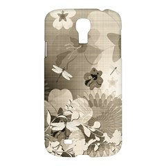 Vintage, Wonderful Flowers With Dragonflies Samsung Galaxy S4 I9500/I9505 Hardshell Case