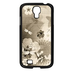 Vintage, Wonderful Flowers With Dragonflies Samsung Galaxy S4 I9500/ I9505 Case (Black)