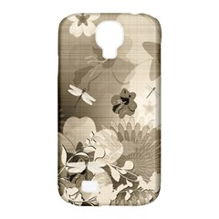 Vintage, Wonderful Flowers With Dragonflies Samsung Galaxy S4 Classic Hardshell Case (PC+Silicone)
