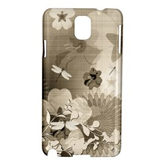 Vintage, Wonderful Flowers With Dragonflies Samsung Galaxy Note 3 N9005 Hardshell Case