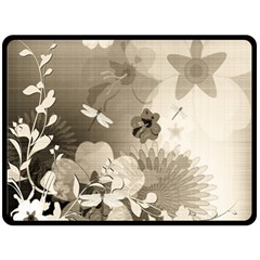 Vintage, Wonderful Flowers With Dragonflies Double Sided Fleece Blanket (Large)