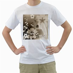 Vintage, Wonderful Flowers With Dragonflies Men s T Shirt (white)