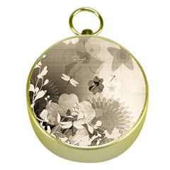 Vintage, Wonderful Flowers With Dragonflies Gold Compasses