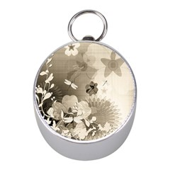 Vintage, Wonderful Flowers With Dragonflies Mini Silver Compasses