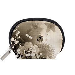 Vintage, Wonderful Flowers With Dragonflies Accessory Pouches (Small)