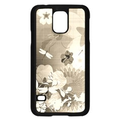 Vintage, Wonderful Flowers With Dragonflies Samsung Galaxy S5 Case (Black)