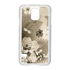Vintage, Wonderful Flowers With Dragonflies Samsung Galaxy S5 Case (White)