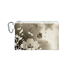 Vintage, Wonderful Flowers With Dragonflies Canvas Cosmetic Bag (s)