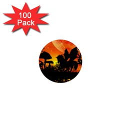 Beautiful Unicorn Silhouette In The Sunset 1  Mini Magnets (100 Pack)