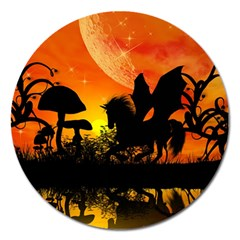 Beautiful Unicorn Silhouette In The Sunset Magnet 5  (Round)