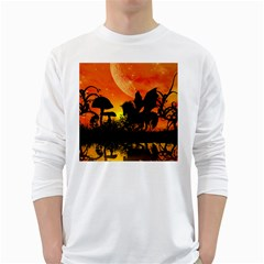 Beautiful Unicorn Silhouette In The Sunset White Long Sleeve T-Shirts