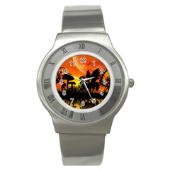 Beautiful Unicorn Silhouette In The Sunset Stainless Steel Watches