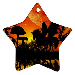 Beautiful Unicorn Silhouette In The Sunset Star Ornament (Two Sides)