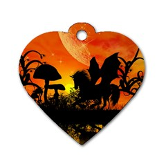 Beautiful Unicorn Silhouette In The Sunset Dog Tag Heart (Two Sides)