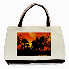 Beautiful Unicorn Silhouette In The Sunset Basic Tote Bag (Two Sides)