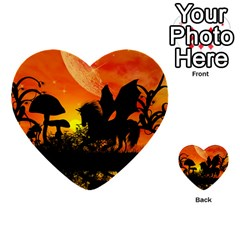 Beautiful Unicorn Silhouette In The Sunset Multi Purpose Cards (heart)