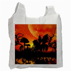 Beautiful Unicorn Silhouette In The Sunset Recycle Bag (Two Side)