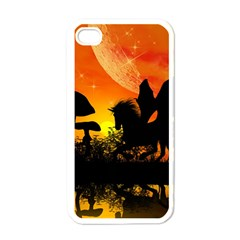 Beautiful Unicorn Silhouette In The Sunset Apple iPhone 4 Case (White)