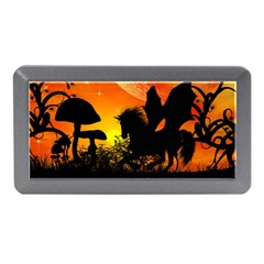Beautiful Unicorn Silhouette In The Sunset Memory Card Reader (Mini)