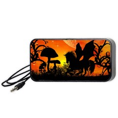 Beautiful Unicorn Silhouette In The Sunset Portable Speaker (black)