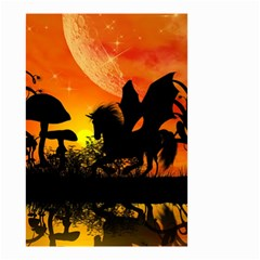 Beautiful Unicorn Silhouette In The Sunset Small Garden Flag (Two Sides)