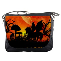 Beautiful Unicorn Silhouette In The Sunset Messenger Bags