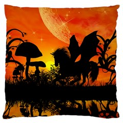 Beautiful Unicorn Silhouette In The Sunset Large Cushion Cases (Two Sides)