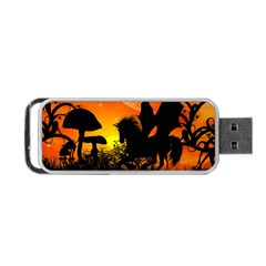 Beautiful Unicorn Silhouette In The Sunset Portable Usb Flash (two Sides)