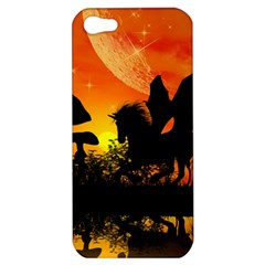 Beautiful Unicorn Silhouette In The Sunset Apple Iphone 5 Hardshell Case