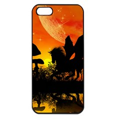 Beautiful Unicorn Silhouette In The Sunset Apple iPhone 5 Seamless Case (Black)