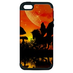 Beautiful Unicorn Silhouette In The Sunset Apple iPhone 5 Hardshell Case (PC+Silicone)