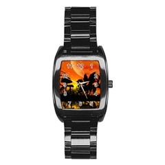 Beautiful Unicorn Silhouette In The Sunset Stainless Steel Barrel Watch