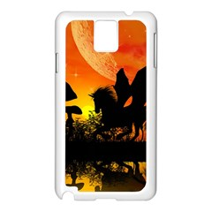 Beautiful Unicorn Silhouette In The Sunset Samsung Galaxy Note 3 N9005 Case (White)