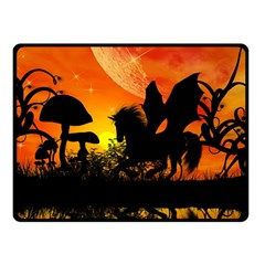 Beautiful Unicorn Silhouette In The Sunset Double Sided Fleece Blanket (Small)