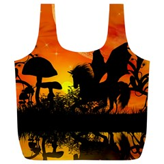 Beautiful Unicorn Silhouette In The Sunset Full Print Recycle Bags (L)