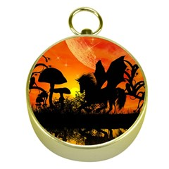 Beautiful Unicorn Silhouette In The Sunset Gold Compasses