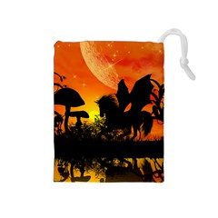 Beautiful Unicorn Silhouette In The Sunset Drawstring Pouches (Medium)