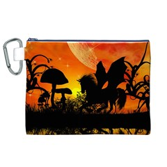 Beautiful Unicorn Silhouette In The Sunset Canvas Cosmetic Bag (XL)