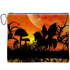 Beautiful Unicorn Silhouette In The Sunset Canvas Cosmetic Bag (XXXL)
